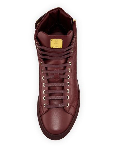 Men's Monogrammed Leather High-Top Sneakers