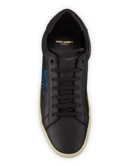 Image 2 of 3: Saint Laurent Men's Leather Logo Low-Top Sneakers