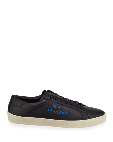 Image 3 of 3: Saint Laurent Men's Leather Logo Low-Top Sneakers