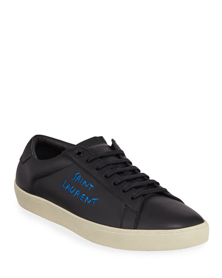 Image 1 of 3: Saint Laurent Men's Leather Logo Low-Top Sneakers