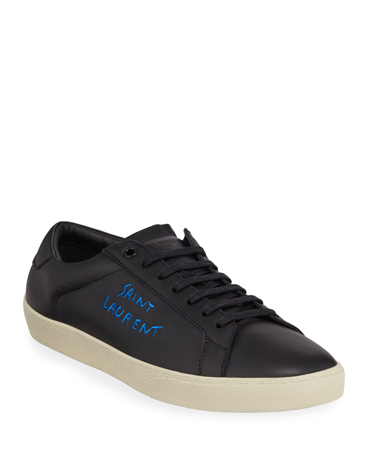 Saint Laurent Men's Leather Logo Low-Top Sneakers