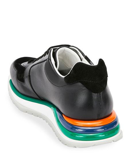 Salvatore Ferragamo Men's Brooklyn Sneakers w/ Rainbow Sole