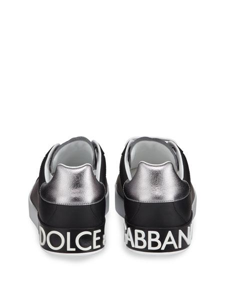 Dolce & Gabbana Men's Portofino Logo Leather Low-Top Sneakers