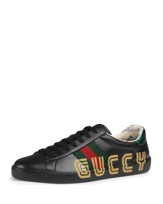 68a2e971e Gucci Ace Sneaker with Guccy Print | Neiman Marcus