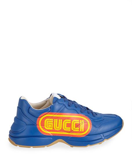 Rhyton Gucci Print Leather Sneaker