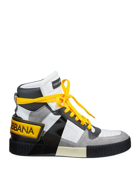 Dolce & Gabbana Men's Milano 1984 Leather/Suede High-Top Sneakers