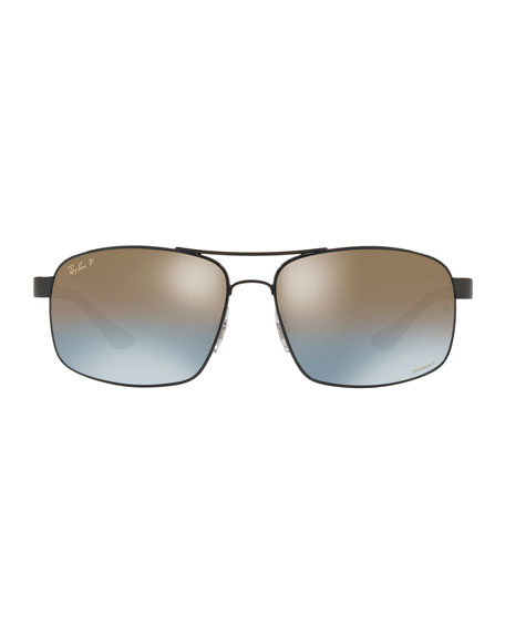 Image 2 of 2: Men's Square Chromance Metal Sunglasses