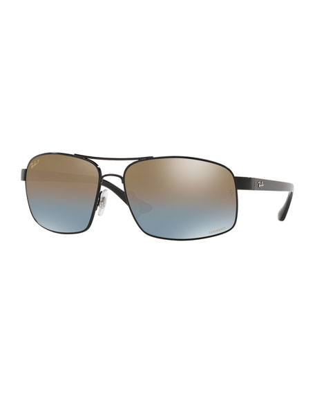 Image 1 of 2: Men's Square Chromance Metal Sunglasses