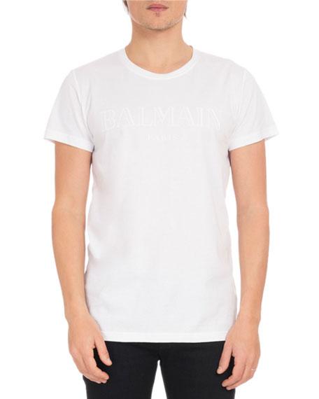 Balmain Men's Crewneck Cotton Logo Tee