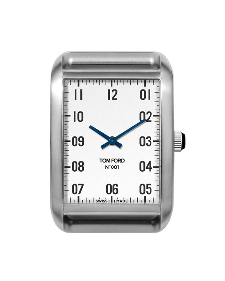 TOM FORD TIMEPIECES Brushed Stainless Steel Case, White Dial, Large