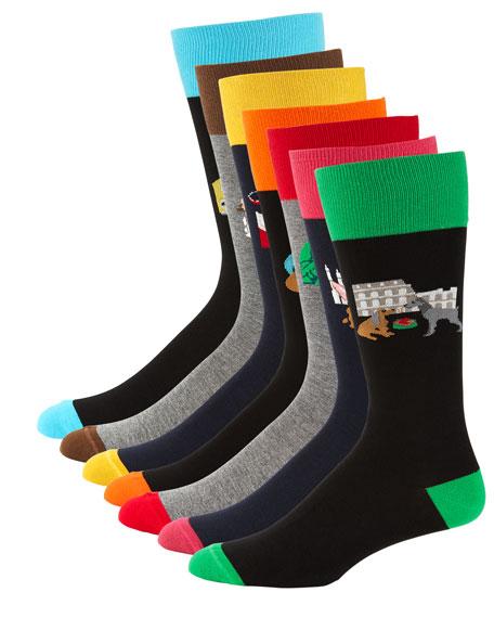 Neiman Marcus Men's 7-Pack Dog Gone Socks