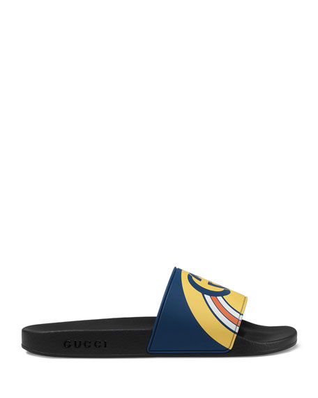 Gucci Men's Interlocking G Rainbow Rubber Slide Sandals
