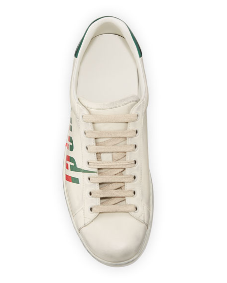 Gucci Men's New Ace Low-Top Logo Sneakers