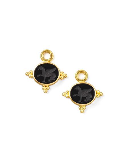 19k Gold Grifo Venetian Glass Earring Pendants, Black