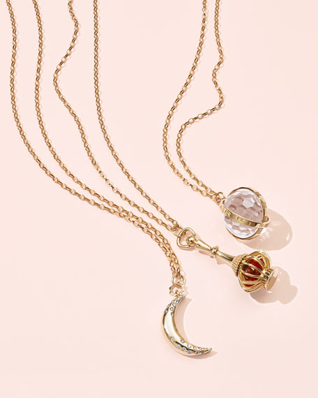 """Dream Moon Charm Necklace with Diamonds, 32"""""""
