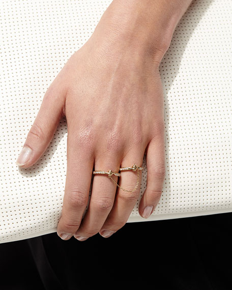 Handcuff Chain 18k Gold & Diamond Ring