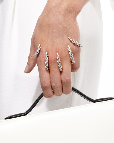 The Claw 18k White Gold Diamond Hand Bracelet