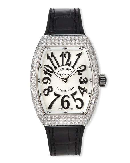 Image 1 of 5: Franck Muller Lady Vanguard Watch with Diamonds & Alligator Strap