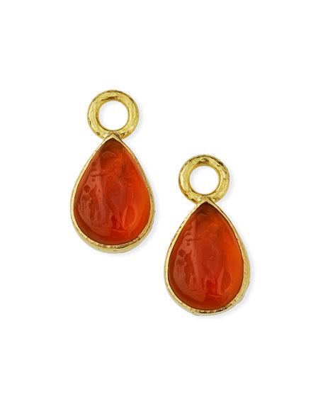 Elizabeth Locke Amber Venetian 19k Pear Drop Earrings