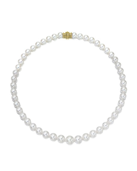 """Assael Akoya 16"""" Akoya Cultured Graduated 6.5-9.5mm Pearl Necklace with Yellow Gold Clasp"""