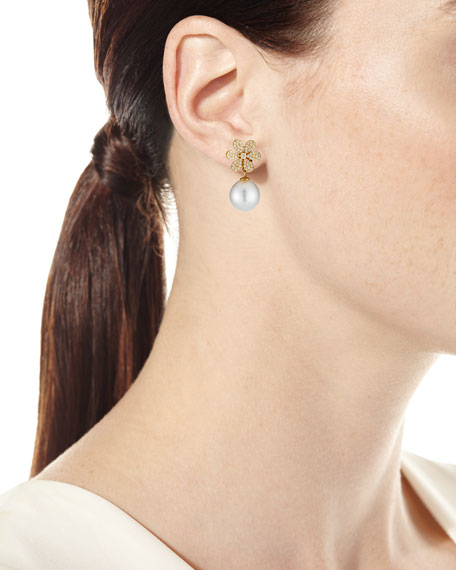 Image 2 of 3: Belpearl 18k Diamond-Daisy Pearl-Drop Earrings