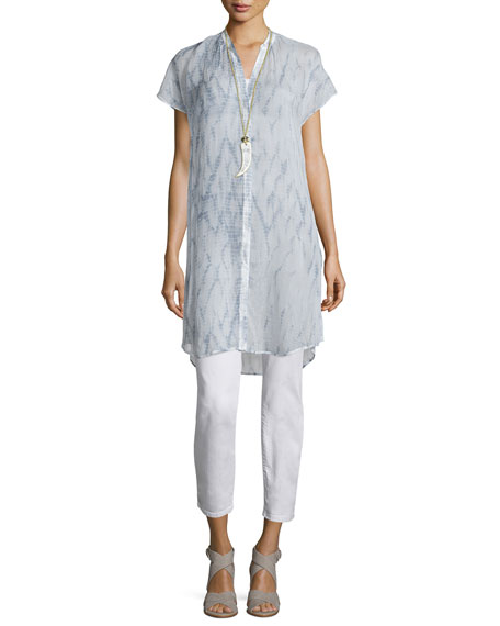 Eileen Fisher Cap-Sleeve Button-Front Shibori Tunic, Mulberry