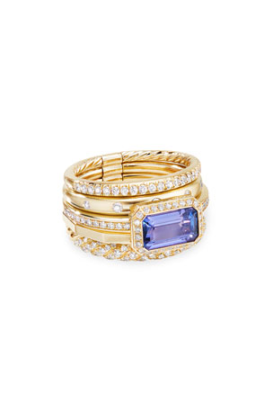 David Yurman Stax Fine Cable 18k Ring w/ Diamonds & Tanzanite, Size 6 Stax Fine Cable 18k Ring w/ Diamonds & Tanzanite, Size 8 Stax Fine Cable 18k Ring w/ Diamonds & Tanzanite, Size 7