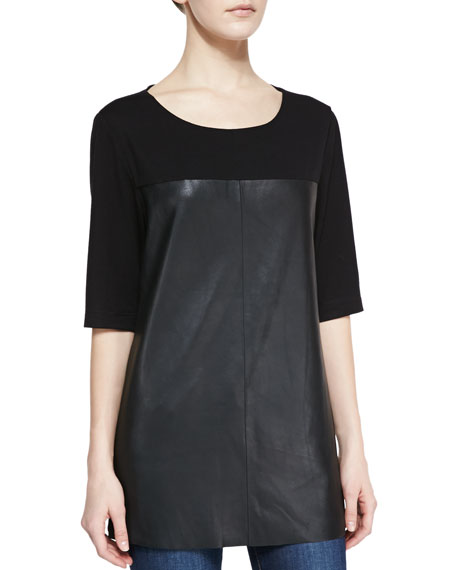 Half-Sleeve Knit & Leather Top, Black