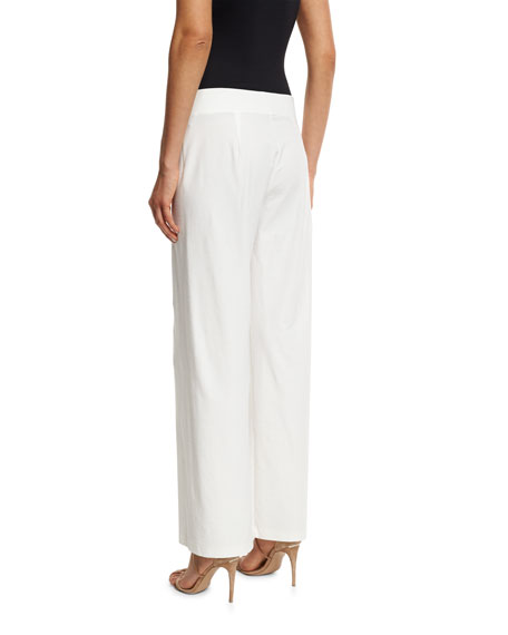 Eileen Fisher Petite Wide-Leg Stretch-Crepe Pants