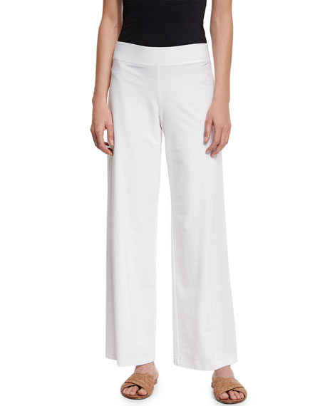 Eileen FisherModern Wide-Leg Stretch-Crepe Pants, White, Plus
