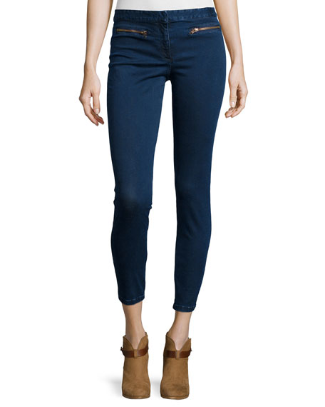 Zip-Pocket Denim Trousers, Medium Blue