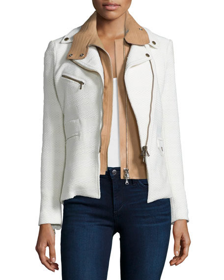 Hadley Tweed Moto Jacket w/ Leather Dickey, White