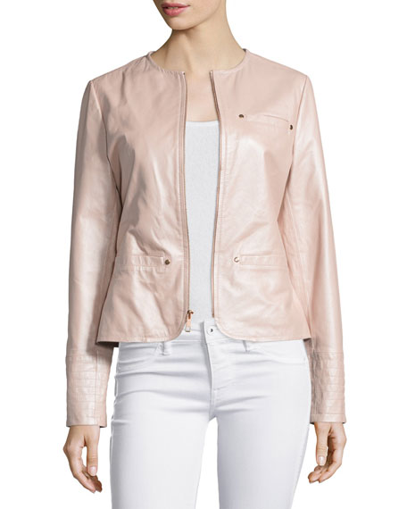 Neiman Marcus Pearlized Leather Jacket, Blush