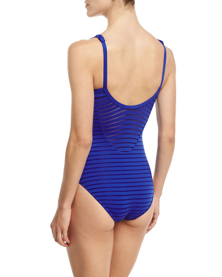 Parallels Ribbed Mesh High-Neck One-Piece Swimsuit, Available in DD-E Cup