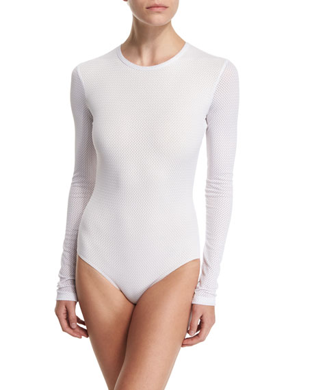 Long-Sleeve One-Piece Swimsuit, Solid or Mesh