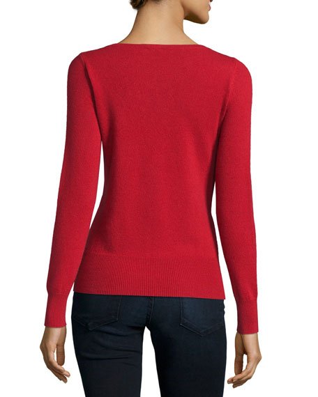 Long-Sleeve Bateau-Neck Cashmere Top