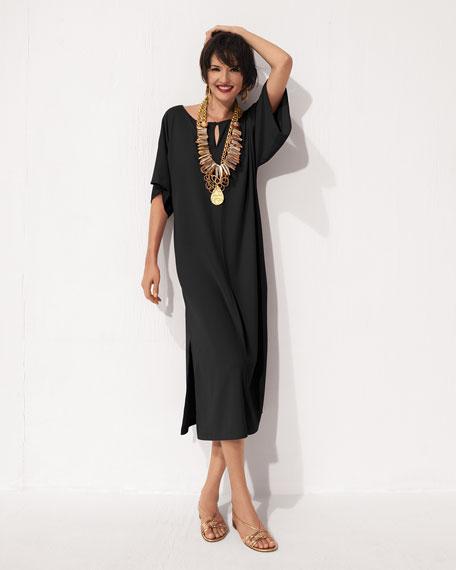 Keyhole-Front Long Dolman Dress, Plus Size