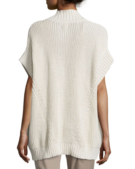 Katherine Zip-Front Sweater Poncho