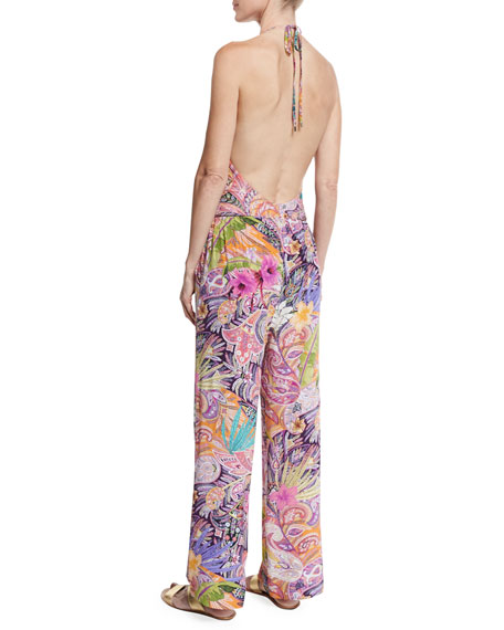 Floral Paisley Silk Coverup Pants, Red Multi