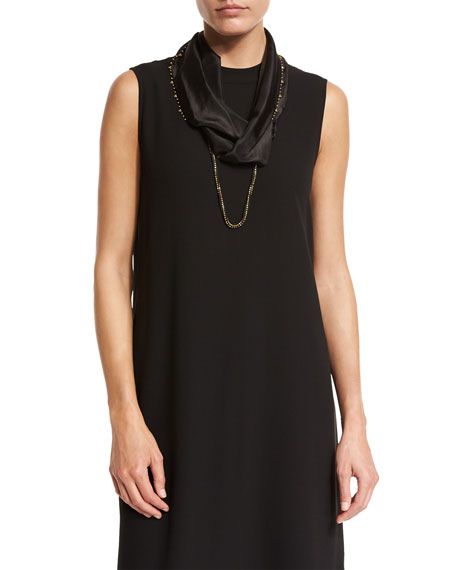 Eileen Fisher Beaded Whisper Silk Infinity Scarf, Black