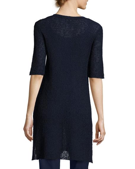 Mélange Half-Sleeve V-Neck Tunic