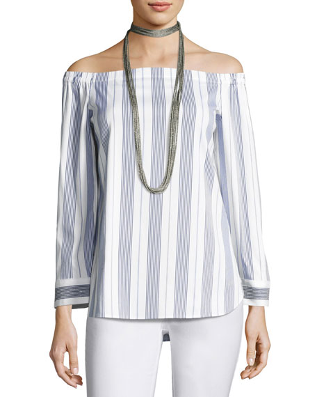 Lafayette 148 New York Natayla Striped Stretch-Cotton