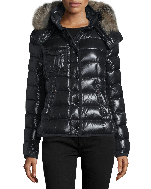 e1056e092 Armoise Shiny Quilted Jacket w/Fur Hood