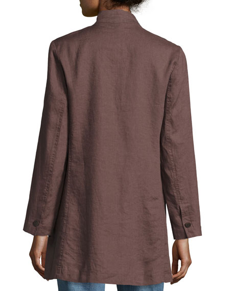Organic Linen Stand-Collar Long Jacket