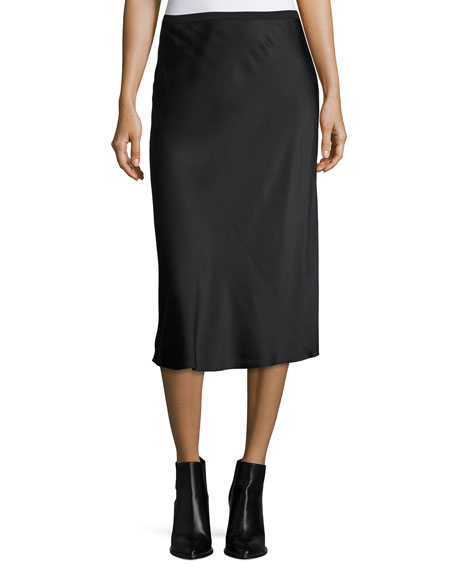 Sateen Slip Midi Skirt