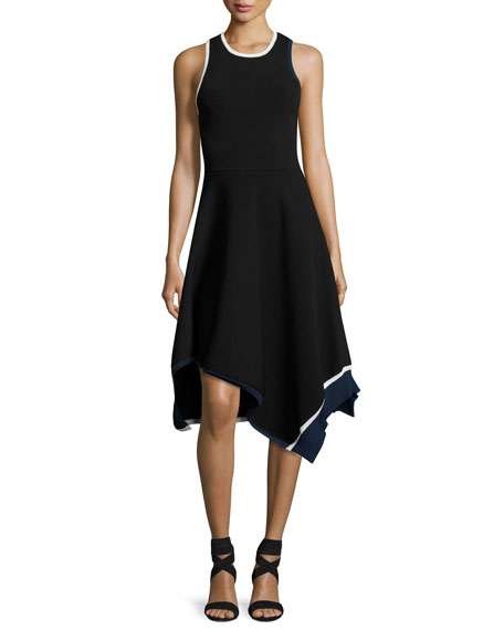 Crew Neck Asymmetrical Hem Tank Dress