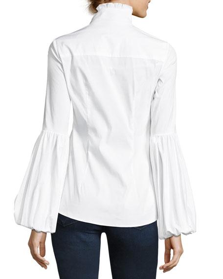 Jacqueline Button-Front Poplin Shirt