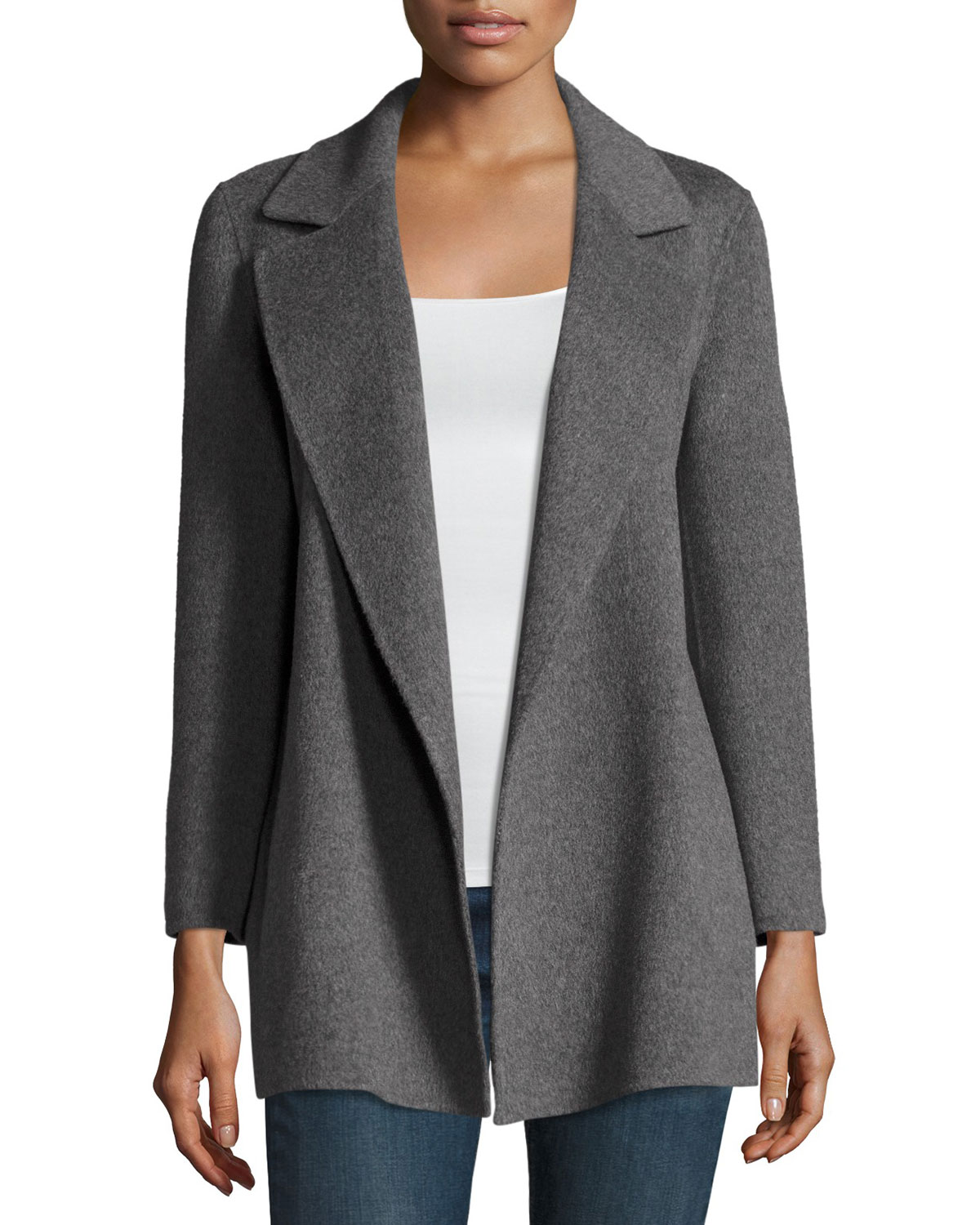 3e4a777b08 Theory Clairene Open-Front Wool-Blend Coat | Neiman Marcus