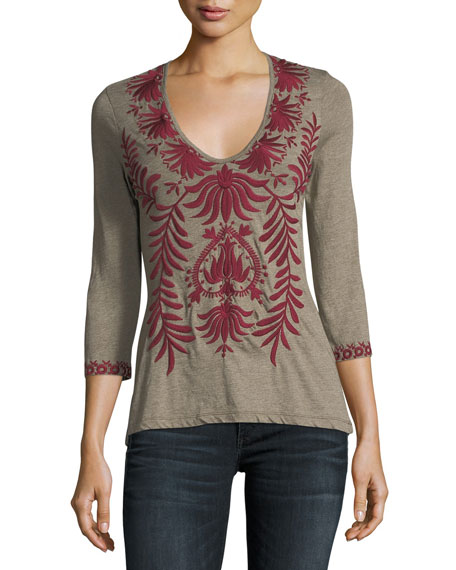 Saskla 3/4-Sleeve Embroidered Top