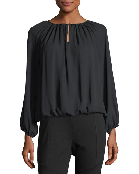 Long-Sleeve Shirred-Neck Peasant Top
